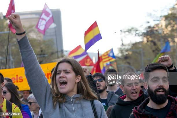 Catalan independece, lefties and migrans organisations demonstrate against far-right VOX political partie in Barcelona, Catalonia, Spain, on march...