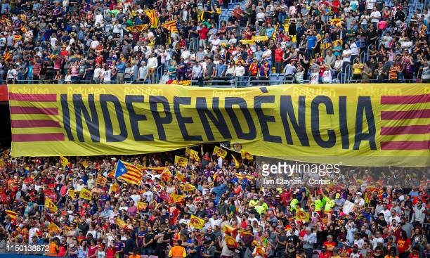 A Catalan Independence banner on display by Catalans Dragons fans before the start of the Catalans Dragons V Wigan Warriors Betfred Super League...