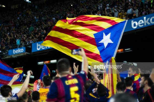 Catalan Independence flags and symbols during the La Liga match between FC Barcelona v Malaga at Montilivi Stadium on October 21 2017 in Barcelona...