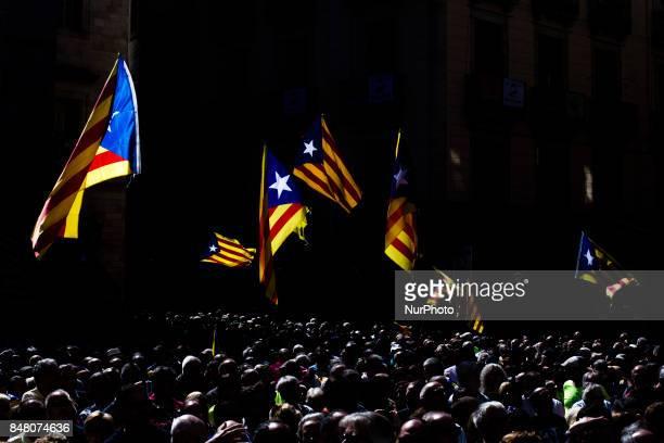 Catalan Independence supporters wave Esteladas during a demonstration of Catalan Mayors backing Independence Referendum on September 16 2017 in...