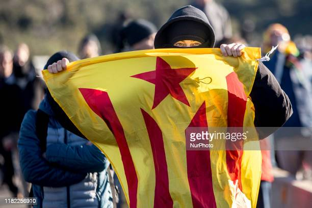 Catalan independent activists summoned by TsunamiD block with cars and barricades, the border point between Spain and France of La Jonquera and Le...