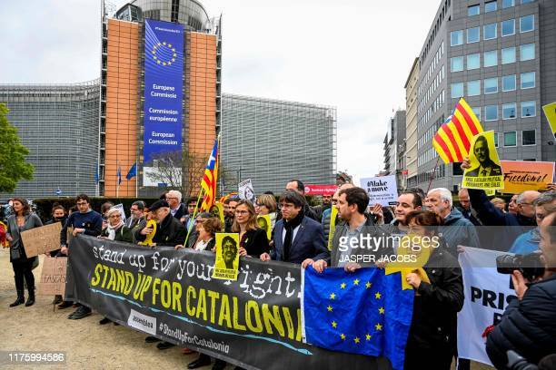 Catalan leader in exile Carles Puigdemont attends a protest in Brussels after Spain's Supreme Court sentenced nine separatist leaders from Catalonia,...
