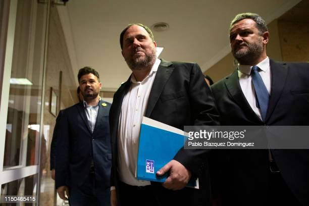 Catalan leader Oriol Junqueras leaves after attending to the registration process at the Spanish Parliament a day before the opening of the plenary...