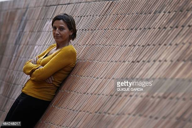 Catalan linguist and Catalan National Assembly president Carme Forcadell poses during an interview with AFP in Barcelona on April 9, 2014. The...