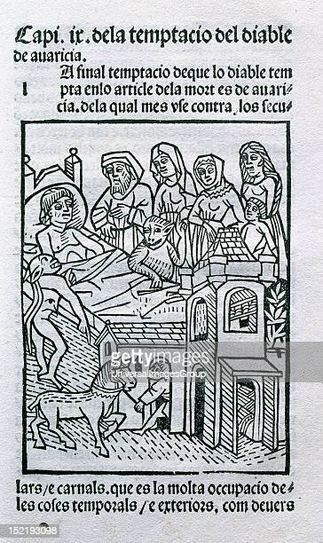 Catalan literature 15th century Art of dying well Chapter nine the devil tempts with greed Catalan edition printed in Zaragoza in 1493 by Pau Hurus...
