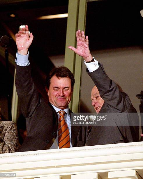 Catalan Nationalist Party Artur Mas and Catalan President Jordi Pujol greets supporters after winning the Catalan presidency in the Spanish autonomic...