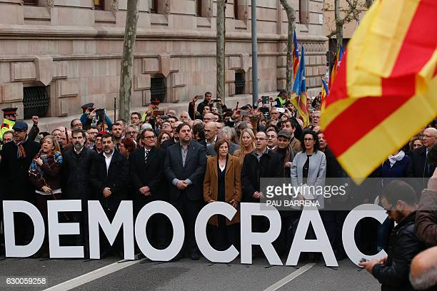 Catalan parliament President Carme Forcadell accompanied by leader of Partit Democrata Europeu Catala PDECAT and former President of the Catalan...