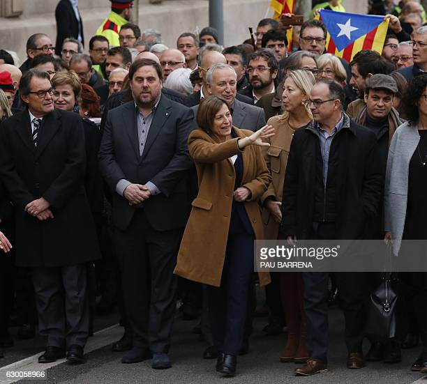 Catalan parliament President Carme Forcadell arrives accompanied by leader of Partit Democrata Europeu Catala PDECAT and former President of the...