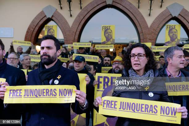 Catalan parliament speaker Roger Torrent and Republican Left of Catalonia secretary general Marta Rovira attend a demonstration to protest against...