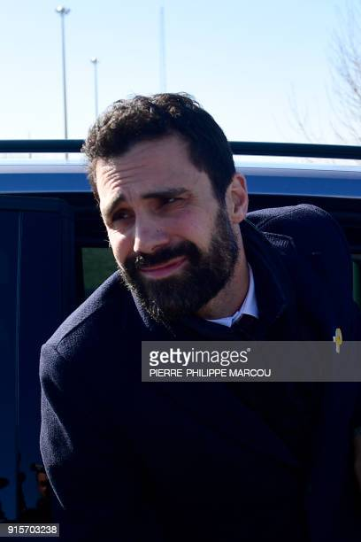 Catalan parliament speaker Roger Torrent arrives to speak with the press outside Estremera's jail near Madrid on February 8 after visiting jailed...