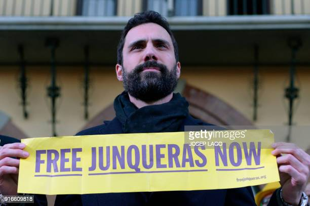 Catalan parliament speaker Roger Torrent attends a demonstration to protest against the 100 days of prison of Catalonia's jailed former vice...