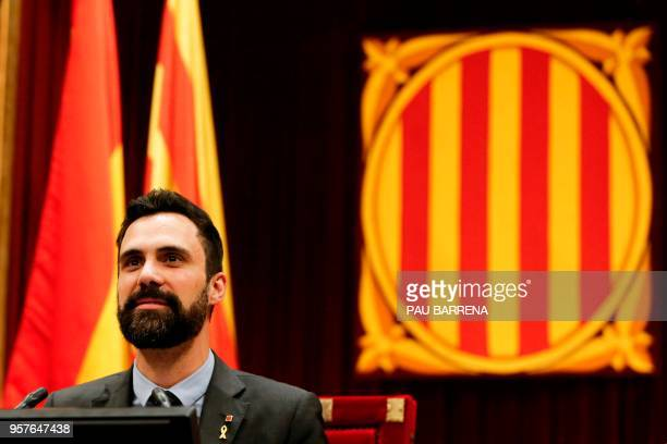 Catalan Parliament Speaker Roger Torrent chairs a session at the Catalan parliament in Barcelona on May 12 2018 Catalonia's parliament will vote on...