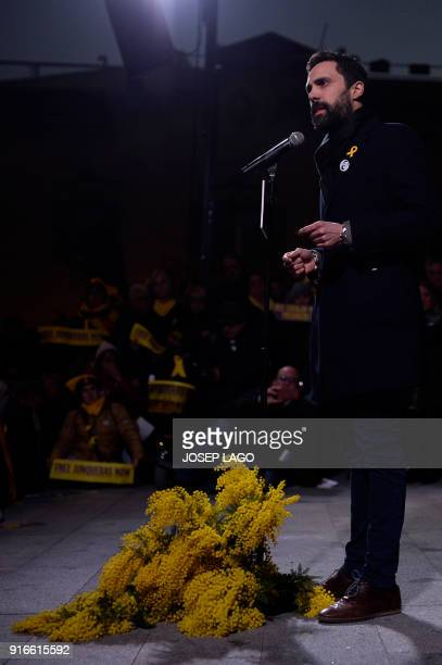 Catalan parliament speaker Roger Torrent gives a speech during a demonstration to protest against the 100 days of prison of Catalonia's jailed former...