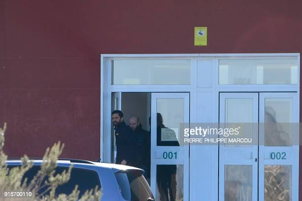 Catalan parliament speaker Roger Torrent leaves Estremera's jail near Madrid on February 8 after visiting jailed Catalan political prisoners / AFP...