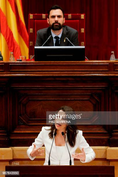 Catalan Parliament Speaker Roger Torrent listens to a speech by Ciudadanos centreright party's Catalan leader Ines Arrimadas during a session at the...