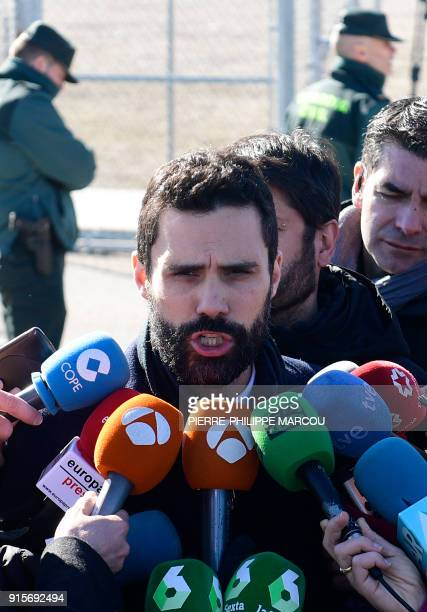 Catalan parliament speaker Roger Torrent speaks to the media outside Estremera's jail near Madrid on February 8 after visiting jailed Catalan...