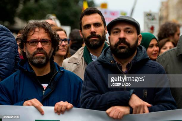 Catalan parliament speaker Roger Torrent takes part in a demonstration titled 'The democratic and cohesive school is not afraid' organized by Catalan...