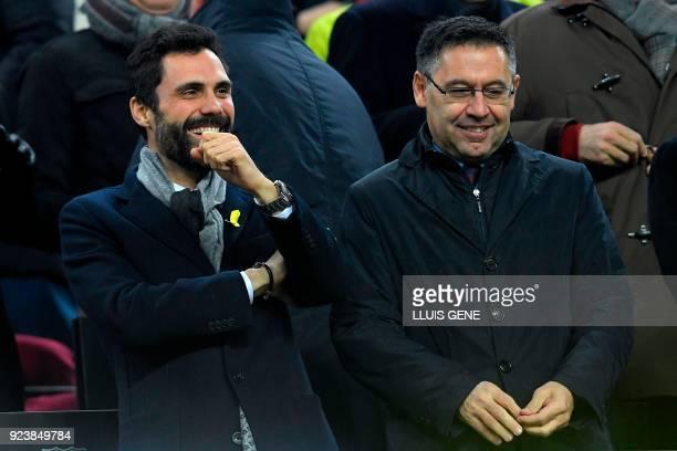 Catalan parliament's speaker Roger Torrent and Barcelona FC president Josep Maria Bartomeu attend the Spanish league football match between FC...