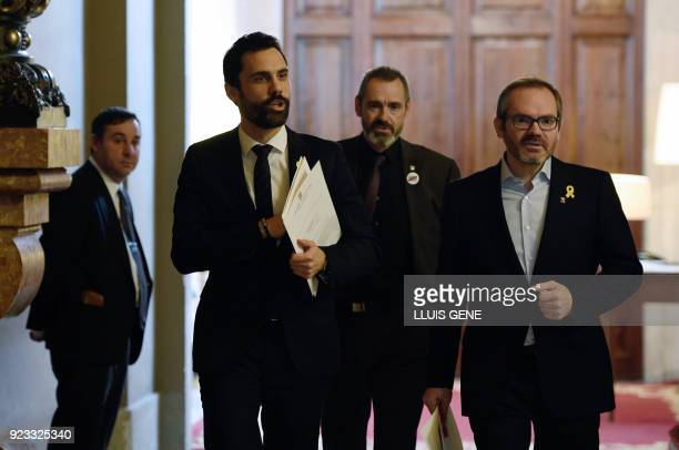 Catalan parliament's speaker Roger Torrent arrives to hold a meeting with the provincial government at the Catalan Parliament in Barcelona on...