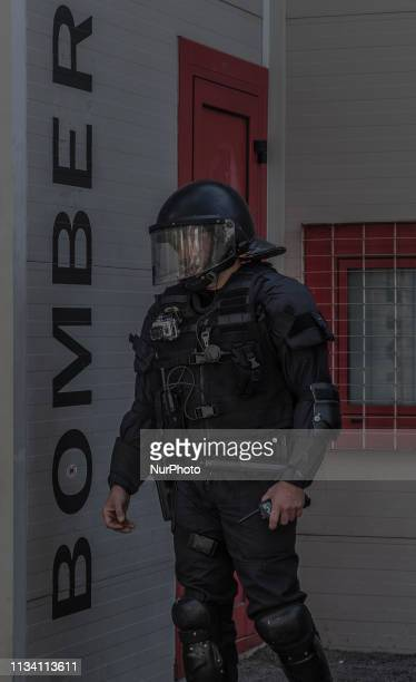 Catalan police during a Vox party rally in Barcelona Spain on Saturday March 30 2019