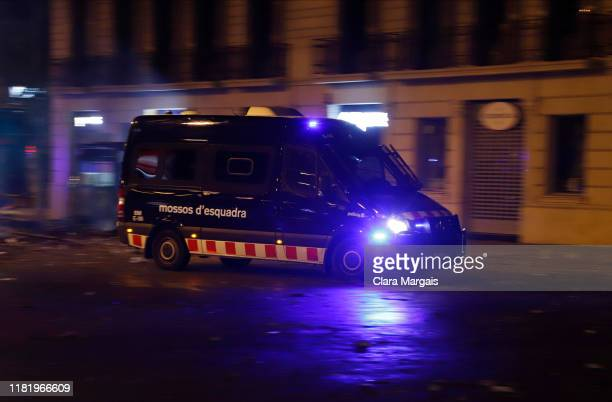 Catalan police 'Mossos de Esquarda' during a night clashes in the streets following a week of protests over the jail sentences given to separatist...