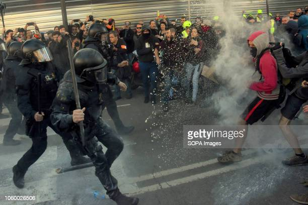 Catalan police officers seen charging and clashing with the protesters during the demonstration The Catalan Police has charged against a group of...
