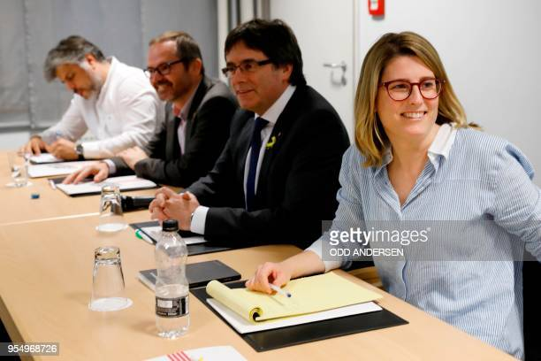 Catalan politician Albert Batet vicepresident of Catalonia's parliament Josep Costa former Catalan president Carles Puigdemont and member of the...