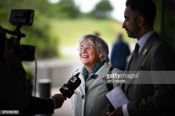 Catalan Politician Clara Ponsati arrives with her lawyer Aamer Anwar at the SNP spring conference on June 9 2018 in AberdeenScotland The pro...