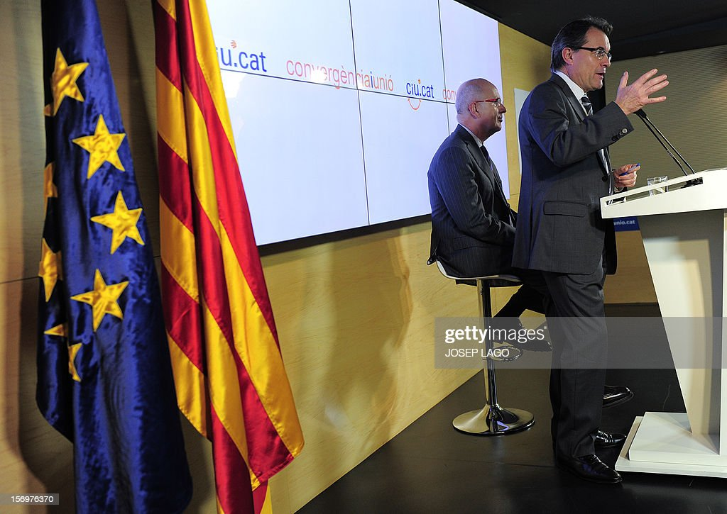Catalan president and leader of the Catalan Convergence and Unity party (CiU), Artur Mas (R), and Secretary general of the CiU, Josep Antoni Duran i Lleida (L), give a joint a press conference in Barcelona on November 26, 2012. Catalonia's fight for statehood and a historic divorce from Spain floundered today after a snap election left no single party in command. Mas' centre-right nationalist alliance, Convergence and Union, remained well ahead in the vote but its share of the 135 parliamentary seats plunged from 62 to just 50.