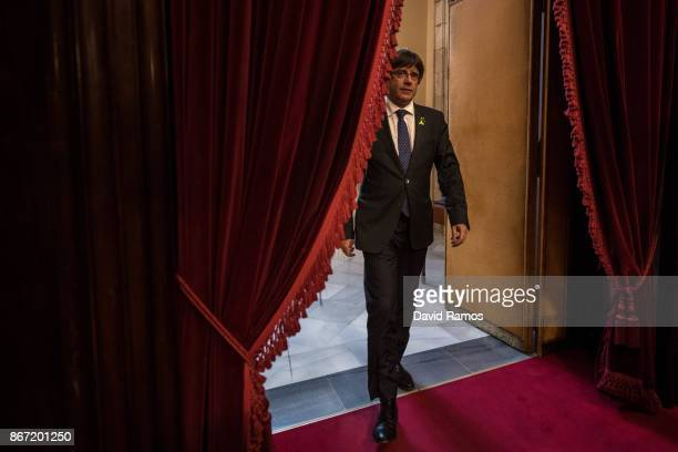 Catalan President Carles Puigdemont arrives at the Catalan Parliament on October 27 2017 in Barcelona Spain MPs in the Catalan parliament have today...
