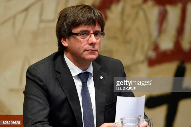 Catalan president Carles Puigdemont attends a Catalan government meeting at the Generalitat in Barcelona on October 2 2017 Catalonia's leader Carles...