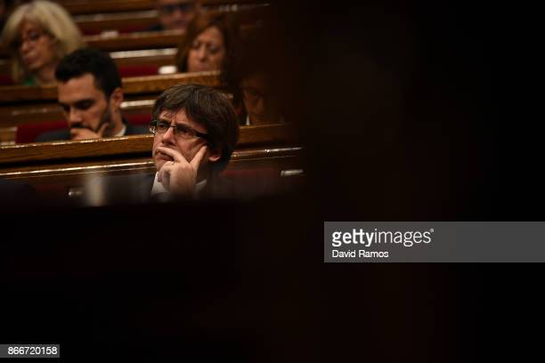Catalan President Carles Puigdemont during a meeting of the Catalan government at the Catalan Government building Generalitat de Catalunya on October...