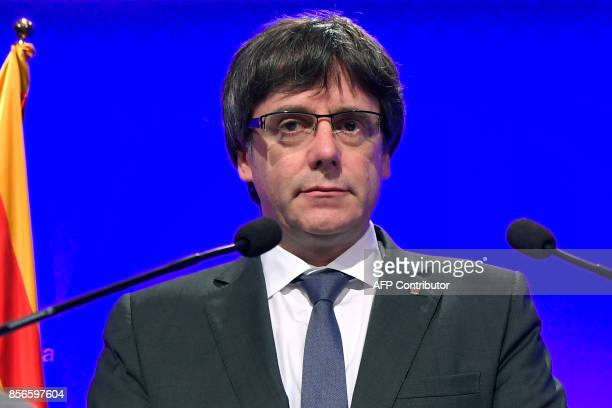Catalan president Carles Puigdemont gives a press conference in Barcelona on October 2 2017 Catalonia's leader Carles Puigdemont said the region had...