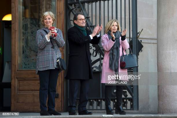 Catalan president Former President of the Catalan Government and leader of Partit Democrata Europeu Catala PDECAT Artur Mas applauds past former...