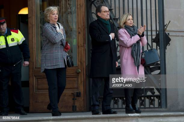 Catalan president Former President of the Catalan Government and leader of Partit Democrata Europeu Catala PDECAT Artur Mas gestures past former...