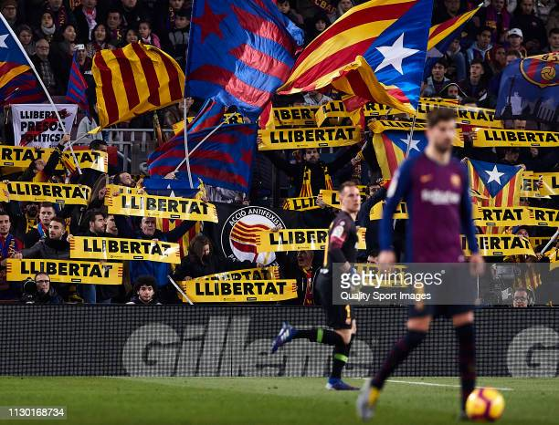 Catalan pro independence banners during the La Liga match between FC Barcelona and Real Valladolid CF at Camp Nou on February 16, 2019 in Barcelona,...