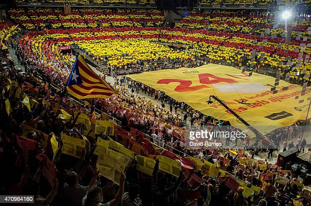 Catalan Pro-Independence supporters attend a meeting at Palau Sant Jordi on April 24, 2015 in Barcelona, Spain. Pro-Independence platforms and...
