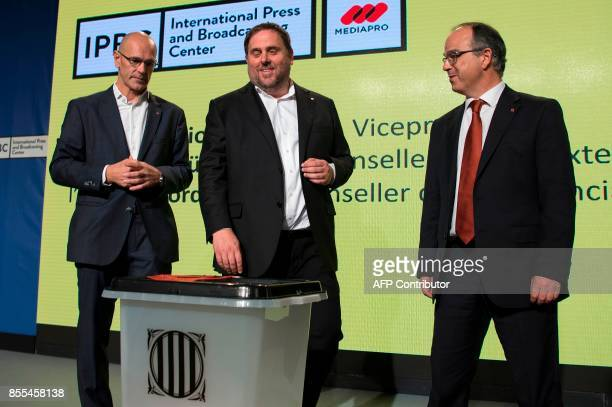 Catalan regional chief of Foreign Affairs Institutional Relations and Transparency Raul Romeva leader of the leftwing party Esquerra Republicana...