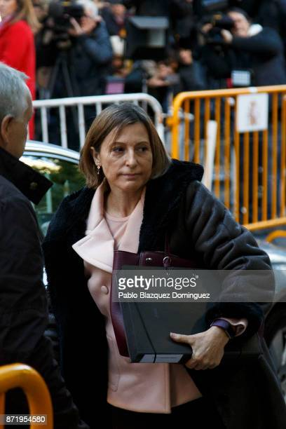 Catalan regional parliament speaker Carme Forcadell arrives at Spain's Supreme Court on November 9 2017 in Madrid Spain Forcadell and other members...