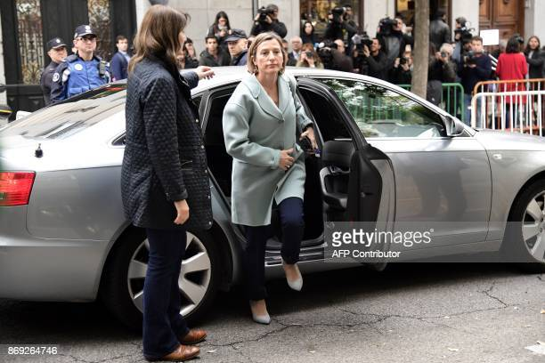 Catalan regional parliament speaker Carme Forcadell arrives at the Supreme Court in Madrid on November 2 2017 to be questioned over her efforts to...