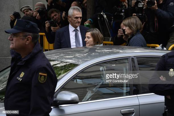 Catalan regional parliament speaker Carme Forcadell leaves the Supreme Court in Madrid on November 2 2017 after appearing before a judge over her...