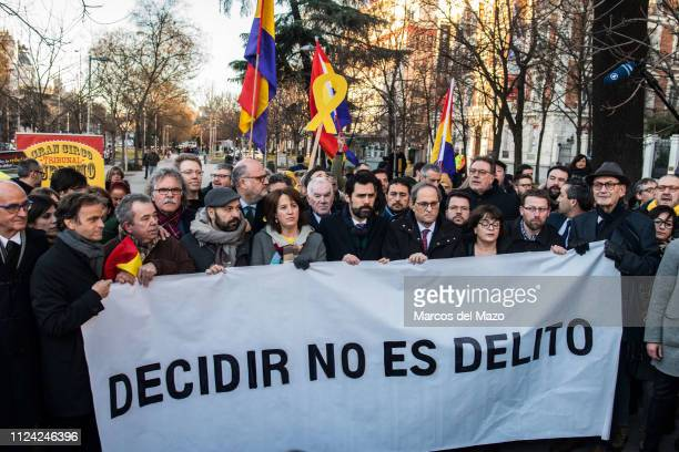 Catalan regional parliament speaker Roger Torrent and president of Catalonia Quim Torra during a protest near Supreme Court as trial of...