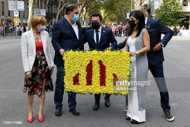 Catalan regional president Pere Aragones , former speaker of the Catalan parliament Carme Forcadell , President of political party Esquerra...
