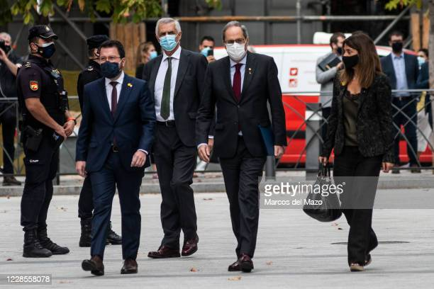Catalan regional president Quim Torra arrives at the Supreme Court to attend a hearing of his appeal of a court's sentence on disobedience that saw...