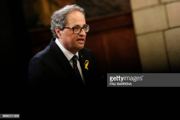 Catalan regional president Quim Torra delivers a speech during an official swearing-in ceremony for the new government at the Generalitat Palace in...