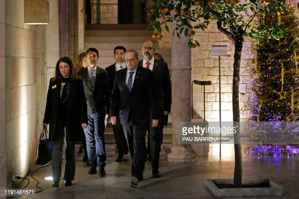Catalan regional president, Quim Torra, walks to hold an extraordinary meeting with his cabinet at the Generalitat in Barcelona on January 3, 2020. -...