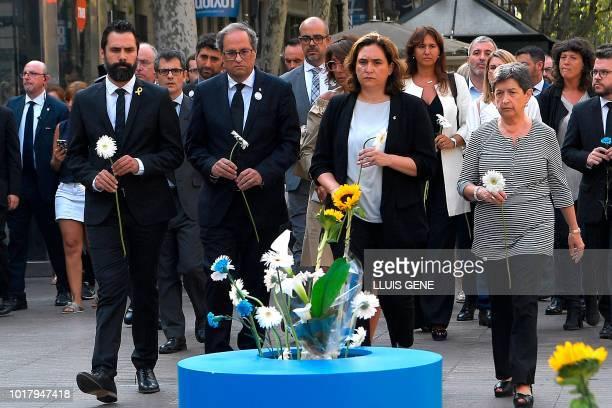 Catalan regional Speaker Roger Torrent Catalan regional PResident Quim Torra Barcelona's Mayor Ada Colau and Spanish government's delegate in...