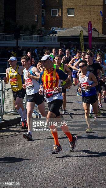 A catalan runner running in the first term in the London Marathon 2014