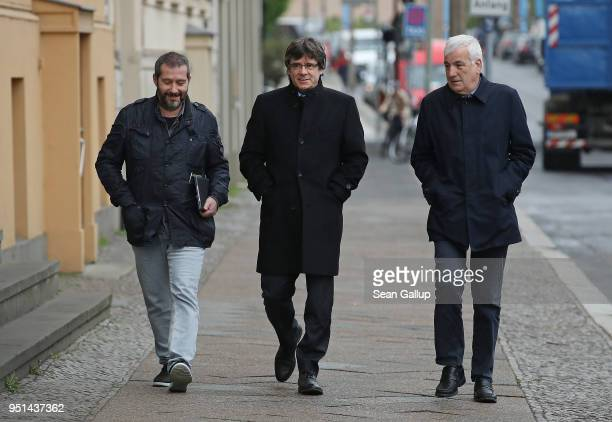 Catalan separatist leader Carles Puigdemont arrives to speak to members of the Foreign Journalists' Association on April 26 2018 in Berlin Germany...