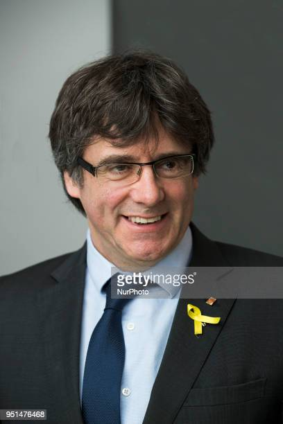 Catalan separatist leader Carles Puigdemont poses for a portrait after a meeting with the Foreign Press Association in Berlin Germany on April 26 2018